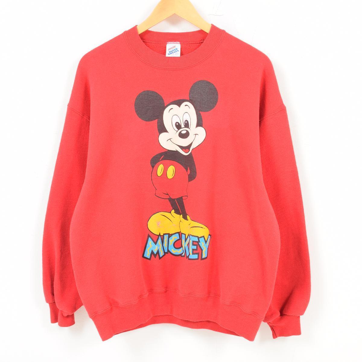 90年代 ジャージーズ Jerzees MICKEY MOUSE ミッキーマウス キャラクタースウェットシャツ トレーナー USA製 レディースL /wat7975 【中古】 【180813】