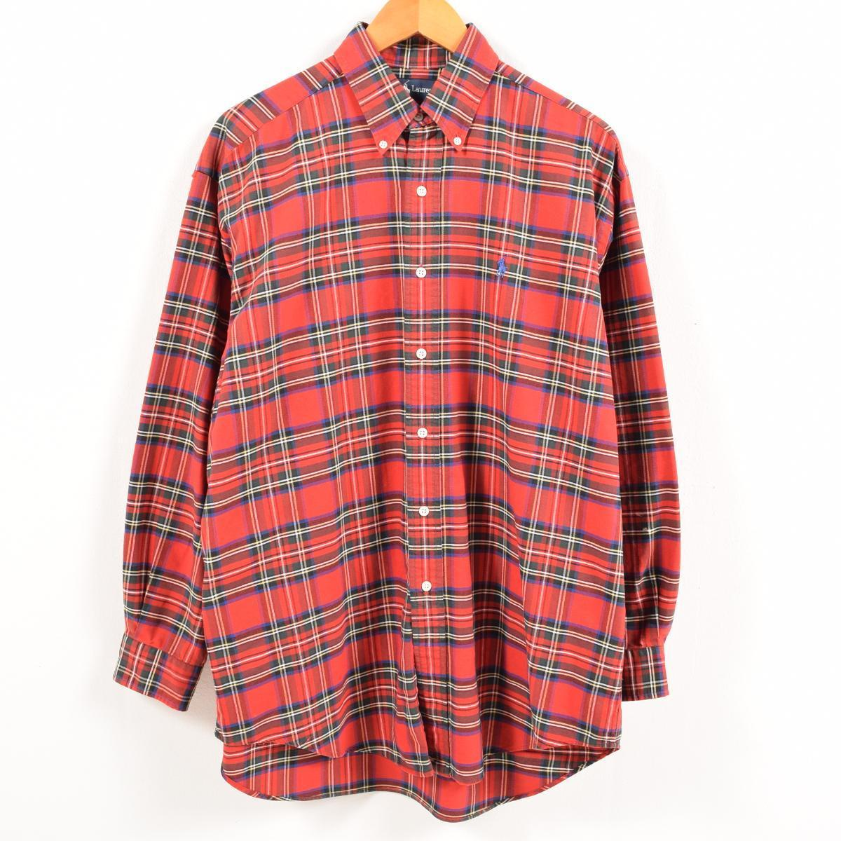 ラルフローレン Ralph Lauren タータンチェック 長袖 ボタンダウンチェックシャツ メンズXL /wax7692 【中古】 【181009】