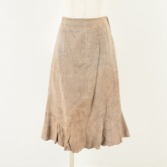Coldwater Creek genuine leather suede leather long flared skirt Lady's L /wav9454