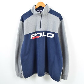 16c7e930f41bd 90年代 ラルフローレン Ralph Lauren POLO SPORT ポロスポーツ ハーフジップスウェットシャツ トレーナー メンズ