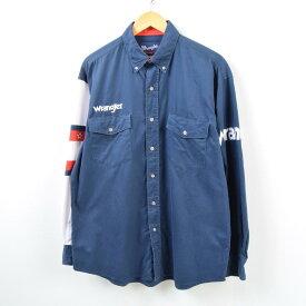 ラングラー Wrangler WESTERN SHIRTS 袖ロゴ 切替 長袖 ボタンダウンシャツ メンズL /wbb5480 【中古】 【190405】