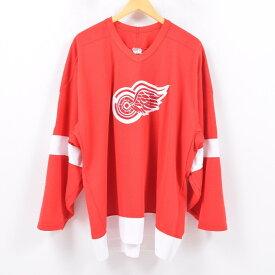 90年代 MASKA NHL DETROIT RED WINGS デトロイトレッドウイングス ゲームシャツ ホッケーシャツ カナダ製 メンズXXL /wbd2627 【中古】 【190418】