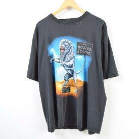 90年代 BLUE RAIN THE ROLLING STONES ザ ローリングストーンズ BRIDGES TO BABYLON EUROPIAN TOUR 1998 バンドTシャツ メンズXXL /wbb4778 【中古】【N1905】 【190413】