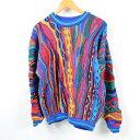 希少サイズ 90年代 クージー COOGI 総柄 ウールニットセーター オーストラリア製 メンズM /wbb4625 【中古】【N1905】 【190416】