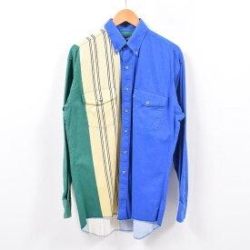 90年代 ラングラー Wrangler クレイジーパターン ストライプ柄 長袖 ボタンダウンシャツ メンズXL /wbd8147 【中古】 【190427】