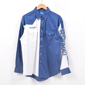 ラングラー Wrangler WESTERN SHIRTS 袖ロゴ 切替 長袖 ボタンダウンシャツ メンズL /wbd8084 【中古】 【190429】