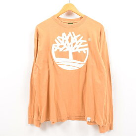 90年代 ティンバーランド Timberland デカロゴ ビッグロゴ ロングTシャツ ロンT USA製 メンズL /wbe0746 【中古】 【190523】