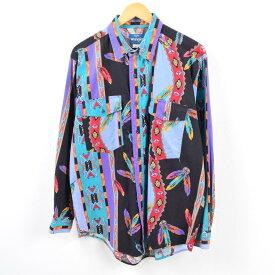 90年代 ラングラー Wrangler WESTERN SHIRTS ネイティブ柄 長袖 コットンシャツ メンズL /wbe9217 【中古】 【190621】【PD190817-1】