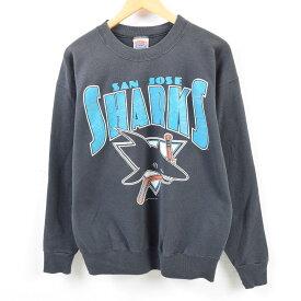 90年代 NUTMEG NHL SAN JOSE SHARKS サンノゼシャークス ロゴスウェット トレーナー USA製 メンズL /wbe8249 【中古】 【190627】【PD191003-2】