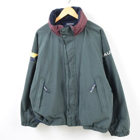 90年代 ノーティカ NAUTICA 袖ロゴ フード収納型 リバーシブル セーリングジャケット フリースジャケット メンズL /wbf4273 【中古】 【190709】