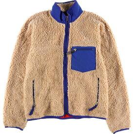 00年製 パタゴニア Patagonia クラシックレトロカーディガン 23024FA00 ナチュラル×ブルー フリースジャケット USA製 メンズL /wbg0032 【中古】 【190718】