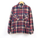 70年代 ジェイシーペニー J.C.Penney タータンチェック ウールシャツジャケット メンズL ヴィンテージ /wbg5407 【中古】 【190729】【PD191003-1】【SS1912】