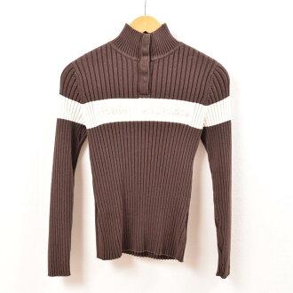 トミーヒルフィガー TOMMY HILFIGER half button cotton knit sweater Lady's S /wbg1117
