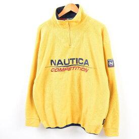ノーティカ NAUTICA COMPETITION 袖ロゴ ハーフジップ フリースプルオーバー USA製 メンズXL /wbg7056 【中古】 【190808】