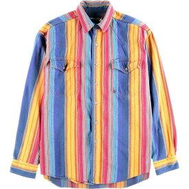 80~90年代 ラングラー Wrangler ネイティブストライプ ウエスタンネルシャツ メンズL ヴィンテージ /wbf8377 【中古】 【190817】
