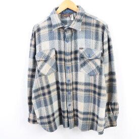 70年代 ラングラー Wrangler チェック柄 ウールシャツ USA製 メンズM ヴィンテージ /wbh0989 【中古】 【190831】