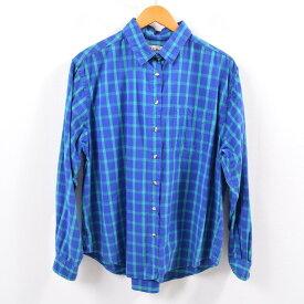 80年代 エルエルビーン L.L.Bean 長袖 コットンチェックシャツ USA製 18 レディースL ヴィンテージ /wbh3452 【中古】 【190907】