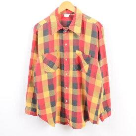 70年代 ジェイシーペニー J.C.Penney BIG MAC ビッグマック ブロックチェック 長袖 ライトネルシャツ メンズM ヴィンテージ /wbi1138 【中古】 【191004】