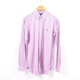 ラルフローレン Ralph Lauren 長袖 ボタンダウンストライプシャツ メンズM /wbi4326 【中古】 【191012】