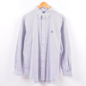 ラルフローレン Ralph Lauren 長袖 ボタンダウンストライプシャツ メンズL /wbi4336 【中古】 【191012】