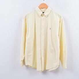ラルフローレン Ralph Lauren 長袖 ボタンダウンストライプシャツ 10 レディースL /wbh5215 【中古】 【191013】