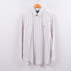 ラルフローレン Ralph Lauren 長袖 ボタンダウンストライプシャツ メンズM /wbh5234 【中古】 【191013】