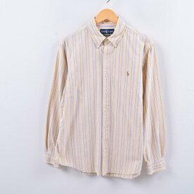 ラルフローレン Ralph Lauren オックスフォード 長袖 ボタンダウンストライプシャツ メンズL /wbh5241 【中古】 【191013】