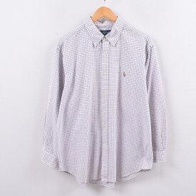 ラルフローレン Ralph Lauren オックスフォード 長袖 ボタンダウンチェックシャツ メンズM /wbh6256 【中古】 【191013】