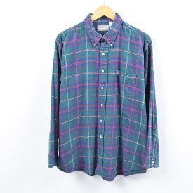 90年代 エルエルビーン L.L.Bean タータンチェック 長袖 ボタンダウン ライトネルシャツ USA製 メンズL /wbi2363 【中古】 【191014】