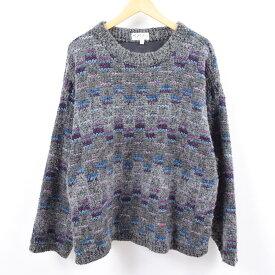Fay Boileau's 総柄 ウールニットセーター USA製 レディースL /wbk4676 【中古】 【191020】
