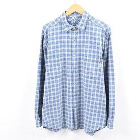 90年代 ゲス Guess JEANS 長袖 コットンチェックシャツ USA製 メンズL /wbk2123 【中古】 【191021】