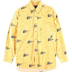 90年代 ノーティカ NAUTICA 総柄×チェック 長袖 ボタンダウンチェックシャツ メンズXXL /wbk6193 【中古】 【191025】