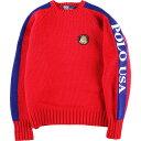 90年代 ラルフローレン Ralph Lauren POLO by Ralph Lauren クッキーワッペン 袖刺繍 ウールニットセーター メンズL ヴィンテージ /wbj…