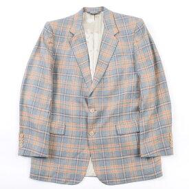 80年代 クリスチャンディオール Christian Dior MONSIEUR チェック柄 シルク テーラードジャケット メンズM ヴィンテージ /wbj7351 【中古】 【191207】