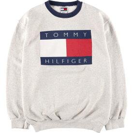 90年代 トミーヒルフィガー TOMMY HILFIGER プリントスウェットシャツ トレーナー USA製 レディースL /wca003027 【中古】 【200109】