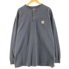 カーハート Carhartt ヘンリーネック ポケット ロングTシャツ ロンT メンズXXL /wbj4861 【中古】 【200214】