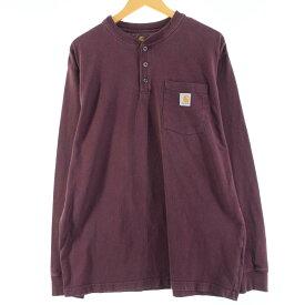 カーハート Carhartt ORIGINAL FIT ヘンリーネック ポケット ロングTシャツ ロンT メンズXL /eaa009419 【中古】 【200223】