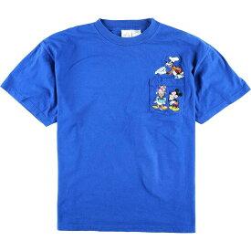 THE DISNEY STORE DISNEY ディズニー キャラクター刺繍 ポケットTシャツ レディースXL /wbj0787 【中古】 【200223】【SS2009】【JS2010】【SS2012】【KF2012】【SS2101】【CS2101】