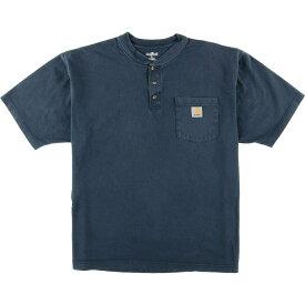 カーハート Carhartt ヘンリーネック ワンポイントロゴポケットTシャツ メンズL /eaa015524 【中古】 【200323】