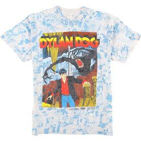 90年代 Dylan Dog ディラン ドッグ 総柄 キャラクタープリントTシャツ メンズM ヴィンテージ /eaa056493 【中古】 【200705】【JS2010】【SS2106】