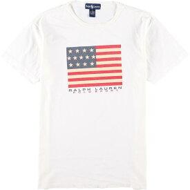 90年代 ラルフローレン Ralph Lauren 星条旗 ロゴプリントTシャツ メンズL ヴィンテージ /eaa063243 【中古】 【200727】