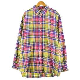 バーバリー Burberry's LONDON 長袖 ボタンダウンチェックシャツ USA製 メンズXL /eaa172582 【中古】 【210621】