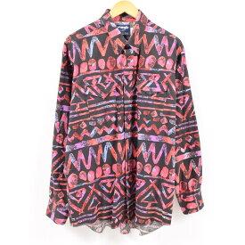 90年代 ラングラー Wrangler ネイティブ柄 長袖 ボタンダウンシャツ USA製 メンズL /wbc7146 【中古】 【190328】