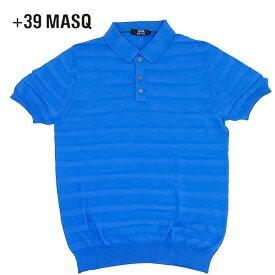 【50%OFF】+39 masq (マスク) ショートスリーブニットポロシャツ [メンズ] 2061【BLU(590)/S・M・L・XL・XXL・XXXLサイズ】 ブルー ボーダー 半袖 ストレッチ イタリア製【店頭受取対応商品】【あす楽】