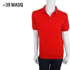 【50%OFF】+39 masq (マスク) ショートスリーブニットポロシャツ [メンズ] 2061【RED(500)/S・M・L・XL・XXL・XXXLサイズ】 レッド ボーダー 半袖 ストレッチ イタリア製【店頭受取対応商品】【あす楽】