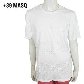 【20時~ポイント10倍】【50%OFF】+39 masq (マスク) クラッシュ Tシャツ [メンズ] 7014【WHT(125)/S・M・L・XLサイズ】ホワイト 半袖 クルーネック クラッシュ加工 コットン イタリア製【あす楽】