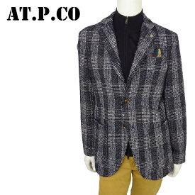 【50%OFF】AT.P.CO アティピコ シングル ジャケット メンズ AU187101 NVY ネイビー テーラードジャケット ウールジャケット ツィード チェック【店頭受取対応商品】【あす楽】