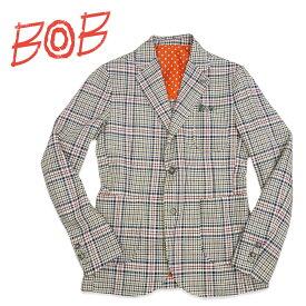 【ポイント5倍】BOB Company(ボブカンパニー) シングルジャケット [メンズ] 072703107【BRD(0012)/46・48・50サイズ】グレンチェック リネン混 Safari掲載ブランド イタリア製【店頭受取対応商品】【あす楽】