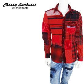 【20%OFF】Cherry Sunburst (チェリーサンバースト) パッチワークワークロングスリーブシャツ [メンズ] 2269S001 【RED/46(M)・48(L)・50(XL)サイズ】レッド 長袖 フランネルシャツ ベロア 日本製【店頭受取対応商品】【あす楽】