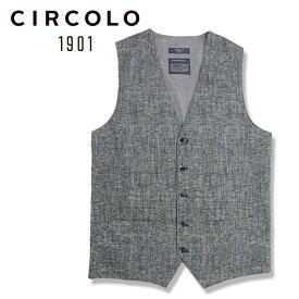 【40%OFF】CIRCOLO 1901 (チルコロ) ジレ [メンズ] CN2603【BLK/44・46・48・50・52サイズ】 ベスト ジャージ ストレッチ Safari LEON 掲載ブランド【あす楽】